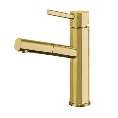 Whitehaus Waterhaus Lead-Free Solid Stainless Steel, Single Hole, Single Lever Kitchen Faucet with Pull-out Spray Head in Brass
