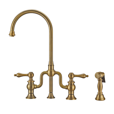 Whitehaus Twisthaus Plus Bridge Faucet with Gooseneck Swivel Spout, Lever Handles and Solid Brass Side Spray in Antique Brass