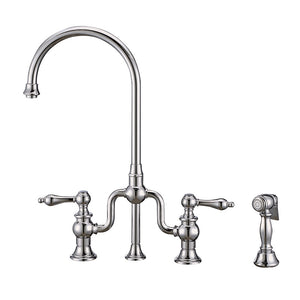 Whitehaus Twisthaus Plus Bridge Faucet with Gooseneck Swivel Spout, Lever Handles and Solid Brass Side Spray in Chrome