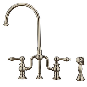 Whitehaus Twisthaus Plus Bridge Faucet with Gooseneck Swivel Spout, Lever Handles and Solid Brass Side Spray in Nickel