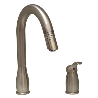 Whitehaus Metrohaus Two Hole Faucet with Independent Single Lever Mixer, Gooseneck Swivel Spout and Pull-Down Spray Head in Brushed Nickel
