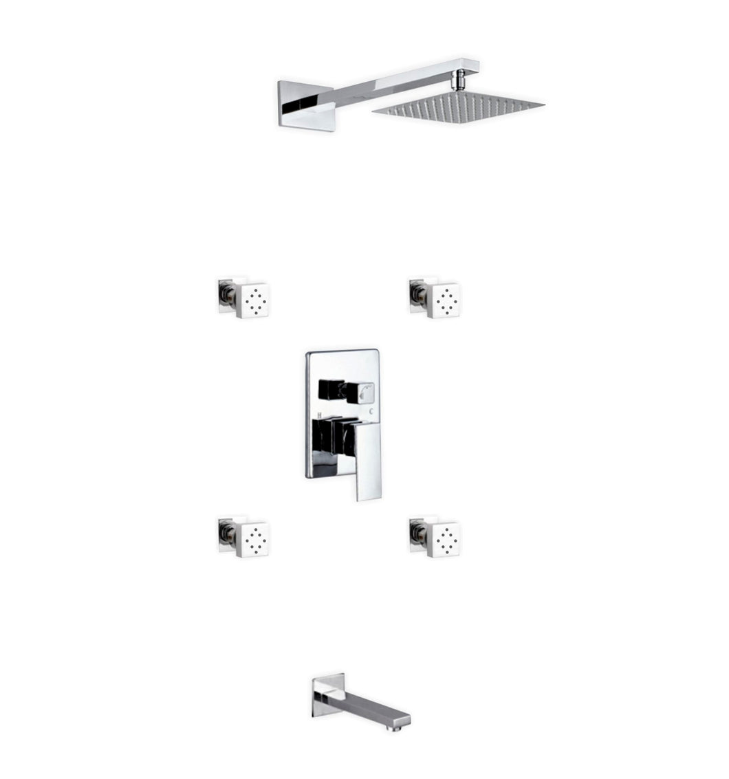 KubeBath Aqua Piazza Chrome Shower Set with 8