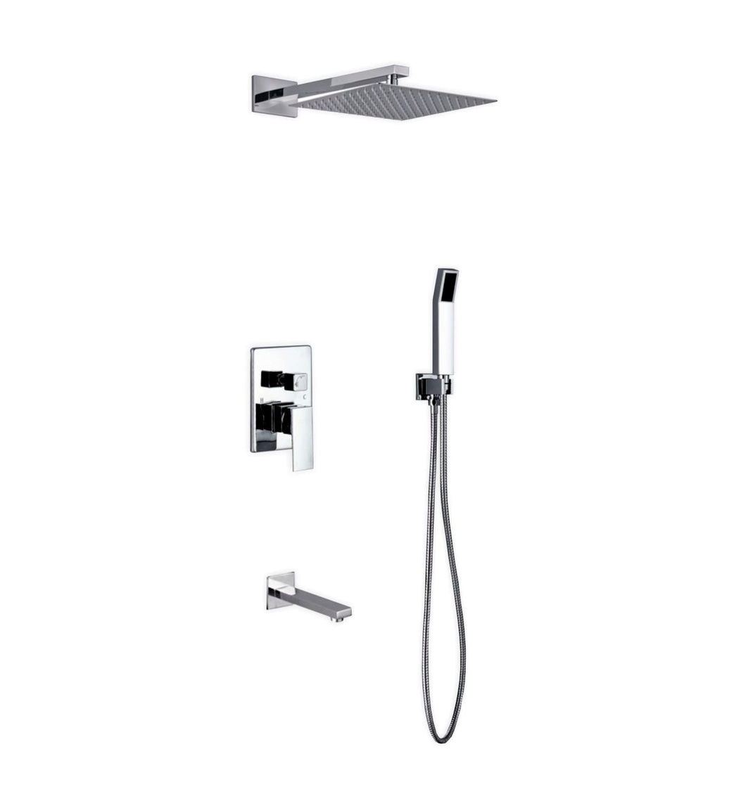 KubeBath Aqua Piazza Chrome Shower Set with 12