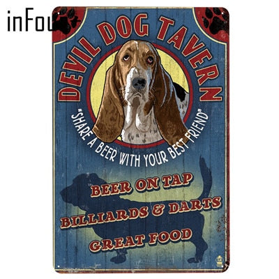 New Cute Pet Dogs Metal Signs Home Decor Vintage Tin Signs Pub Home Decorative Plates Metal Sign Wall Plaque Metal