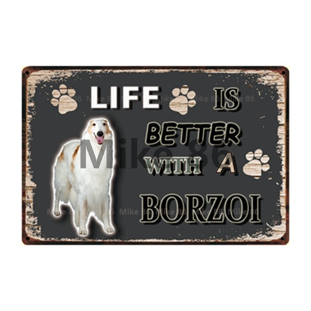 Dogs Chihuahua Border Collie Bull Terrier  Metal Sign Tin Poster Home Decor Bar Wall Art Painting 20*30 CM Size DD-25