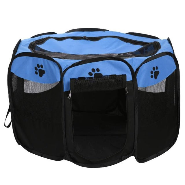 Portable Folding Pet Dog Bed Dog House Cage Dog Cat Tent Playpen Puppy Kennel Easy Operation Octagonal Fence Outdoor Supplies