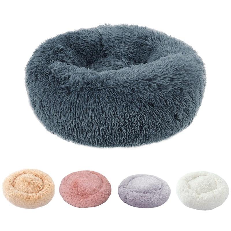 Winter Warm Round Plush Dog Bed For Small Dogs