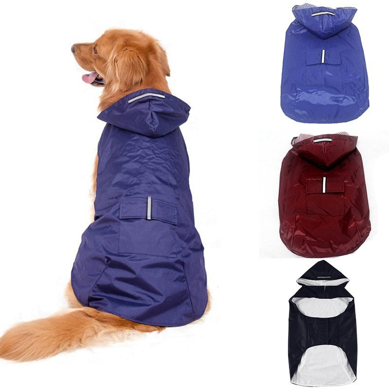 Dog Hoodies Raincoat with Reflective Stripes