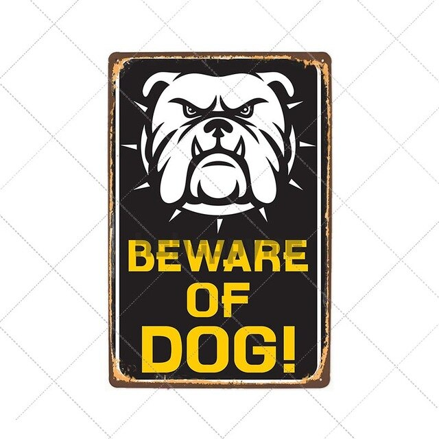 Beware Dog On Patrol Metal Sign Bulldog Tin Poster Vintage Wall Decorative Plate Pub Bar Store Decoration Home Decor 20x30cm