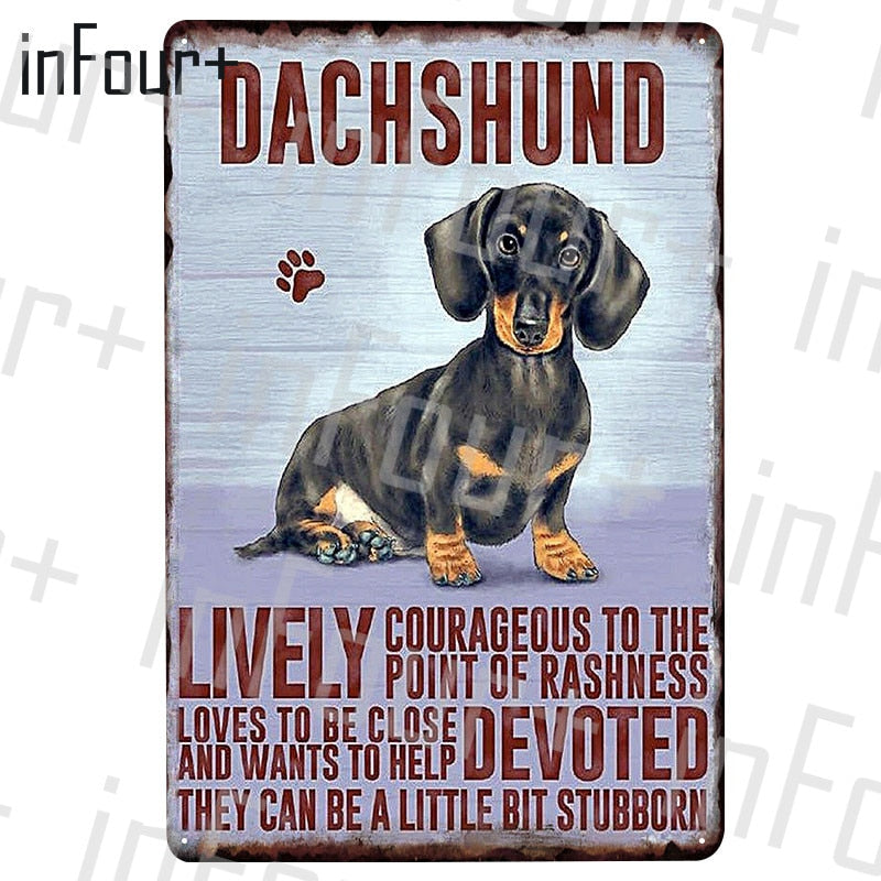 Dachshund Dog Metal Plate Tin Sign Plaque Metal Vintage Decor Metal Sign Metal Poster Home Bar Pub Decoration Vintage Posters