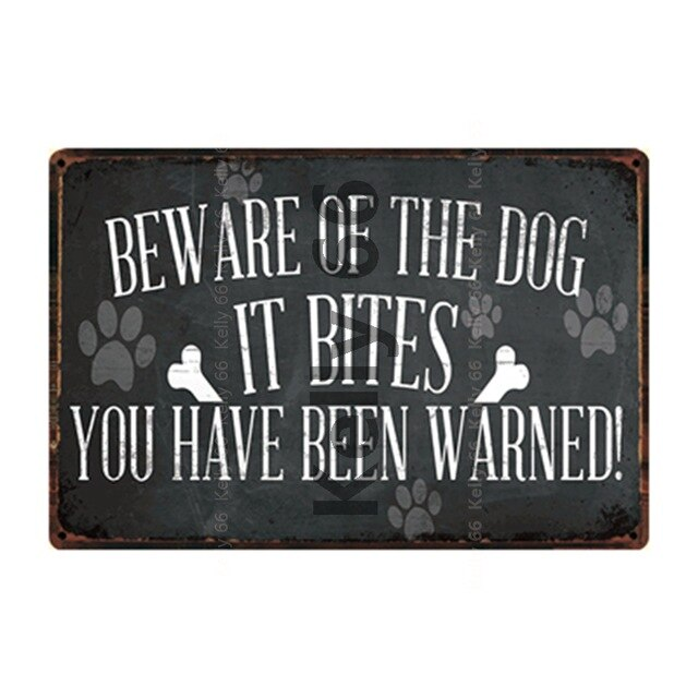 Pets Warning Beware Of Dogs Keep Gate Closed Keep Out Metal Sign Home Decor Bar Wall Art Painting 20*30 CM Size DG-2