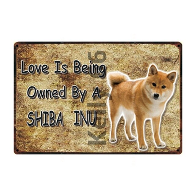 Warning Sign Dogs Rules Shiba Inu And Great Pyrenees Metal Sign Home Decor Bar Wall Art Painting 20*30 CM Size DG-34