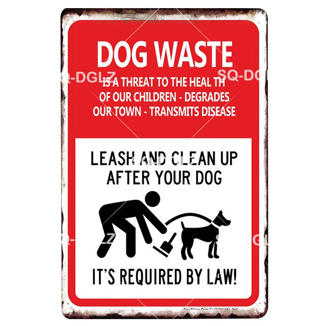 Attention Dogs Metal Sign Plaque Metal Vintage Decor Pub Bar Decoration Tin Sign Plates Warning Pet Poster Yard Home Decor