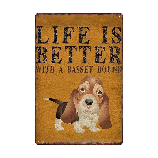 Dog Metal Sign Vintage Plaque Puppy Poster Wall Art Painting Pet Store Decor 20*30 CM