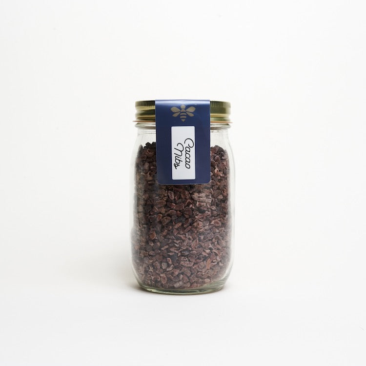 Cacao Nibs - glass pint jar - ice cream toppings