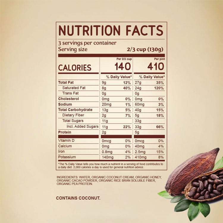 Nutritional Facts for Peruvian Cacao Dairy Free NAPP'S Ice Cream with ingredients. Organic Coconut Cream, Organic Honey, Pea Protein, Rice Fiber. Organic Peruvian Cacao