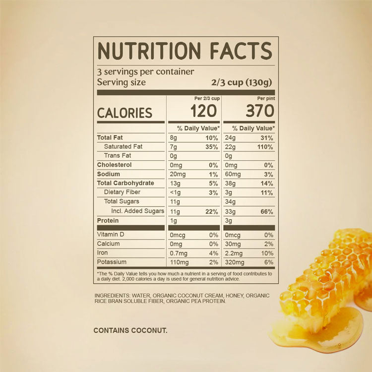 Nutritional Facts for Brazilian Honey Dairy Free NAPP'S Ice Cream with ingredients. Organic Coconut Cream, Organic Honey, Pea Protein, Rice Fiber.