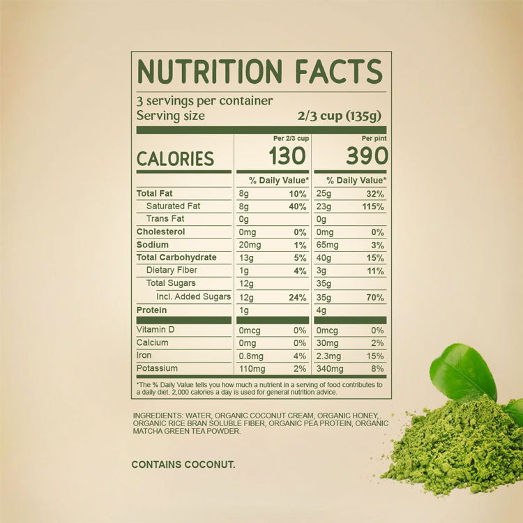 Nutritional Facts for Japanese Matcha Dairy Free NAPP'S Ice Cream with ingredients. Organic Coconut Cream, Organic Honey, Pea Protein, Rice Fiber, and Ceremonial Grade Matcha