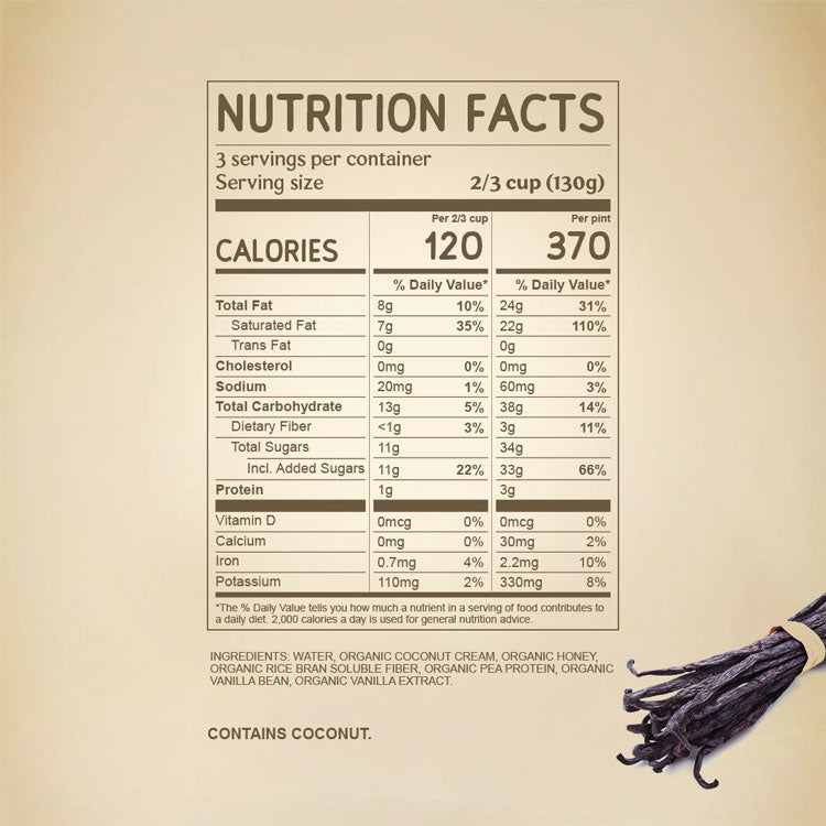 Nutritional Facts for Tahitian Vanilla Dairy Free NAPP'S Ice Cream with ingredients. Organic Coconut Cream, Organic Honey, Pea Protein, Rice Fiber, Organic Tahitian Vanilla Bean, Organic Madagascar Vanilla Extract