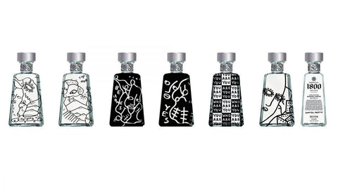 Complete Set! Six bottles x 1800 Tequila Shantell Martin Artists Series Silver Limited Edition