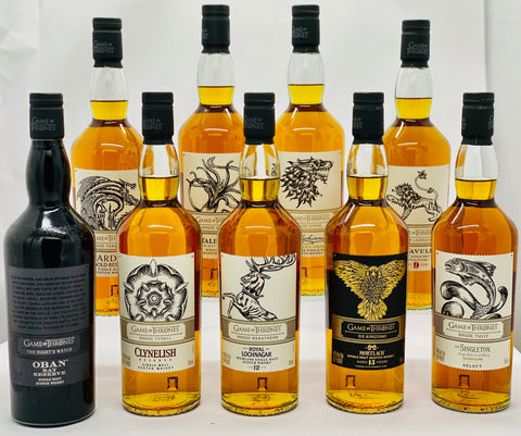"Game of Thrones ""Complete Set of Nine"" Single Malt Scotch Whisky"