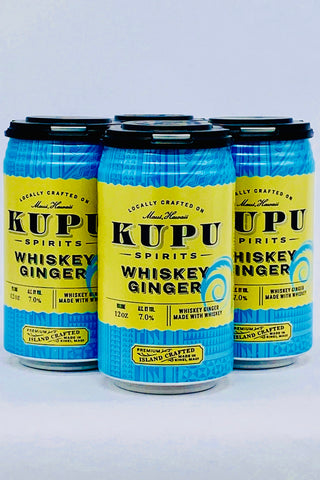Kupu Spirits Whiskey & Ginger RTD Cocktail 4 x 12 oz Cans by Maui Brewing Company