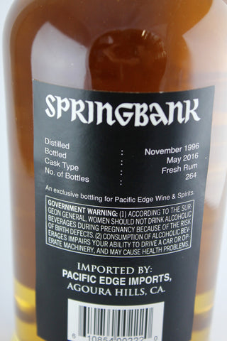 Springbank 1996 19 Year Old Single Cask Scotch Whisky #761 Fresh Rum Cask 111.4 Proof