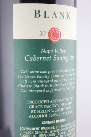 "Grace Family 2012 Cabernet Sauvignon ""Blank"" Vineyard"