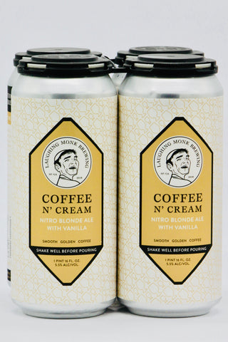 Laughing Monk Coffee N' Cream Nitro Blonde Ale with Vanilla 16 oz Can Four Pack
