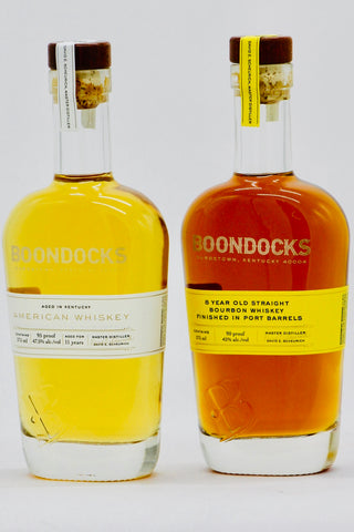 Boondocks Two Bottle Set: Port Finish Bourbon Whiskey 375 ml & 11 Year Old American Whiskey 375 ml