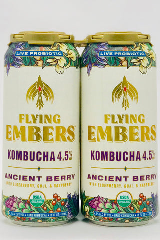 Flying Embers Ancient Berry Kombucha Four Pack 16 oz Cans