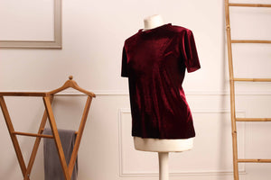 Le T-shirt Eunoia - Velours bordeaux - Eunoia-Paris