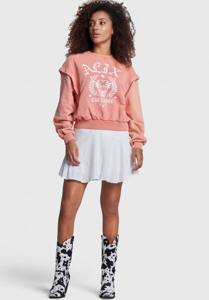ALIX THE LABEL ALIX UNIVERSITY SWEATER SALMON - Your Trends&Brands