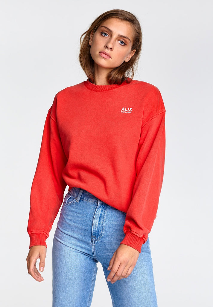 ALIX THE LABEL OVERSIZED ON TOUR SWEATER WARM RED - Your Trends&Brands