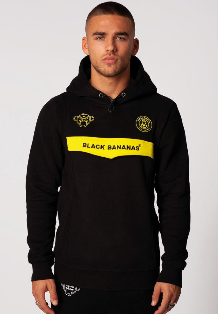 BLACK BANANAS ANORAK NEON HOODY BLACK/YELLOW - Your Trends&Brands