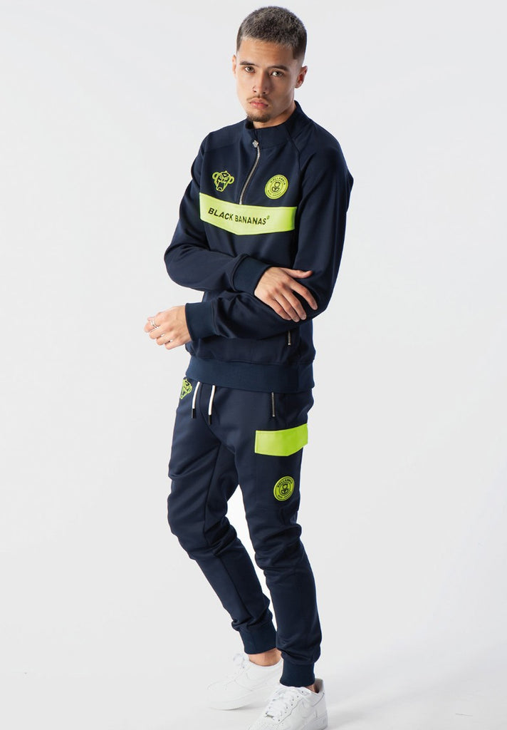 BLACK BANANAS ANORAK NEON TRACKSUIT NAVY/YELLOW - Your Trends&Brands