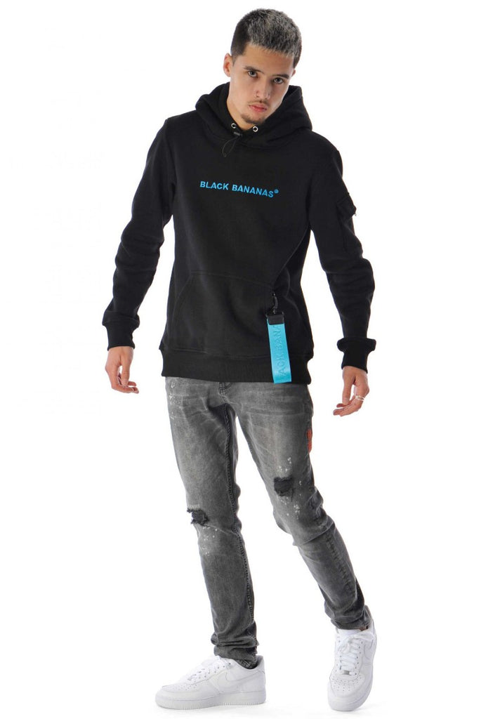 BLACK BANANAS TAG HOODY BLACK/BLUE - Your Trends&Brands