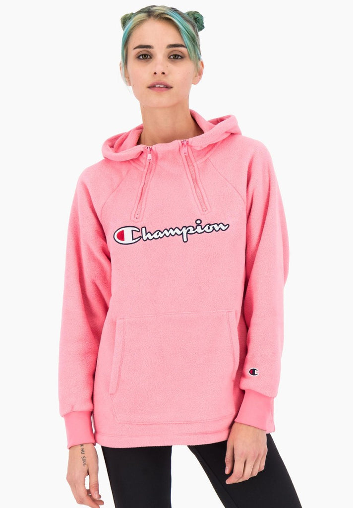 CHAMPION HALF ZIP HOODED SWEATSHIRT PINK - Your Trends&Brands