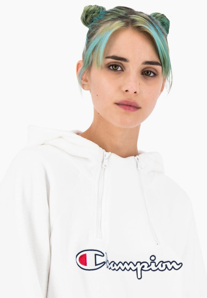 CHAMPION HALF ZIP HOODED SWEATSHIRT WHITE - Your Trends&Brands