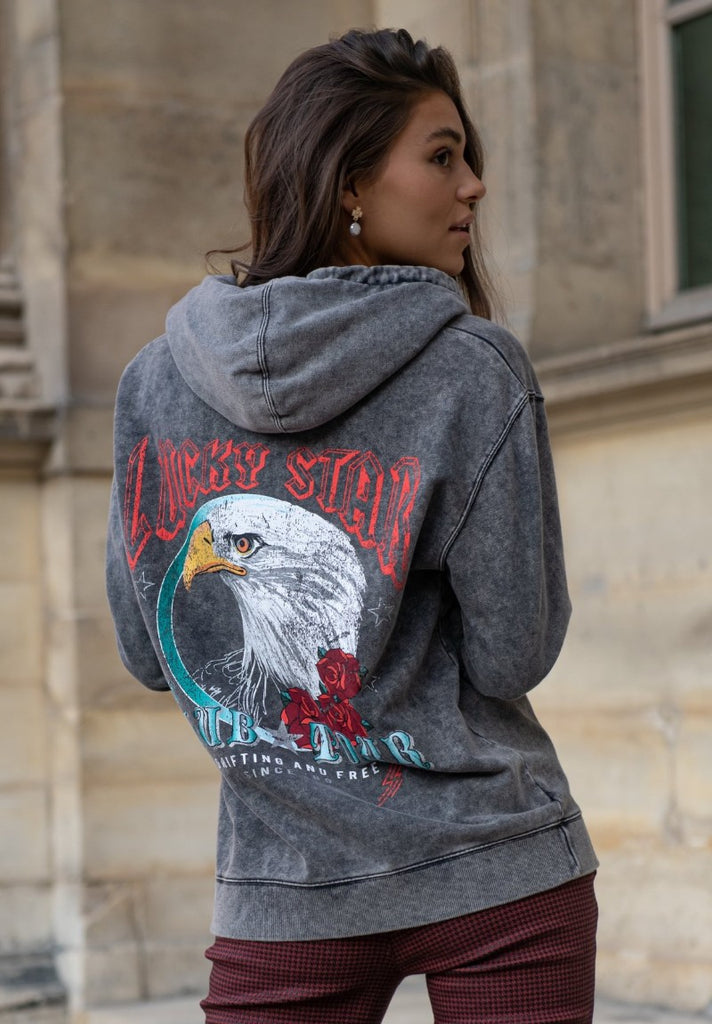 COLOURFUL REBEL EAGLE ACID WASH OVERSIZED HOODIE - Your Trends&Brands