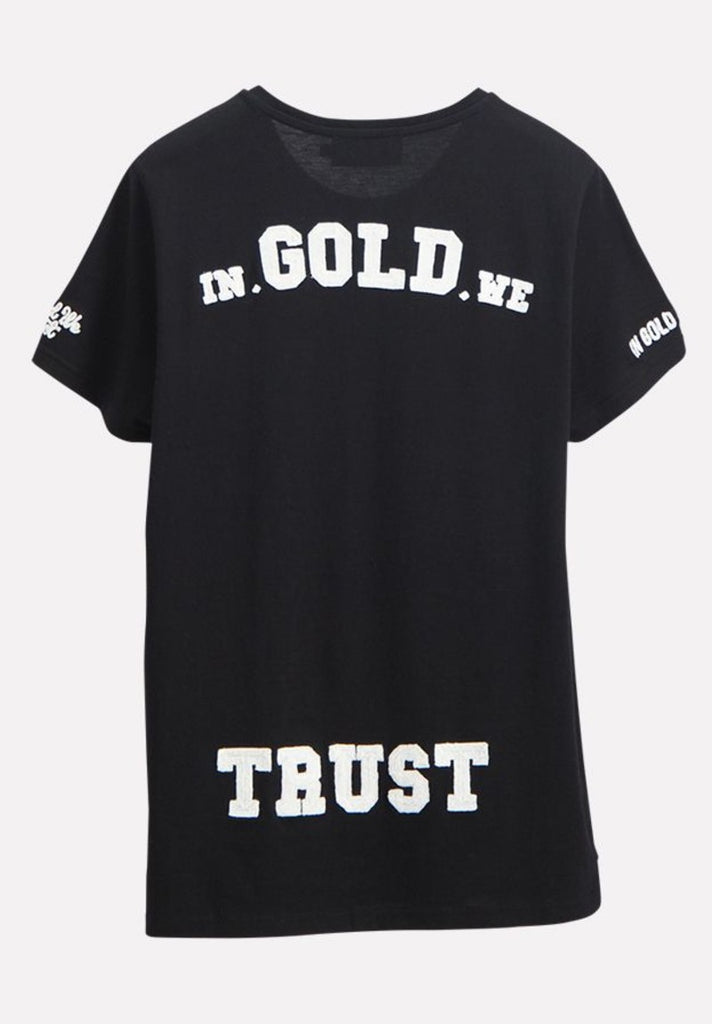IN GOLD WE TRUST KIDS CHAIN EMBROIDERY T-SHIRT - Your Trends&Brands