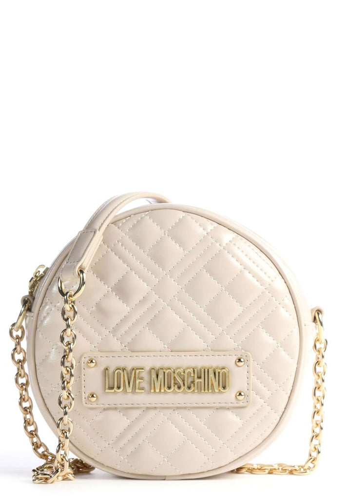 LOVE MOSCHINO QUILTED ROUND CROSSBODY BAG IVORY - Your Trends&Brands
