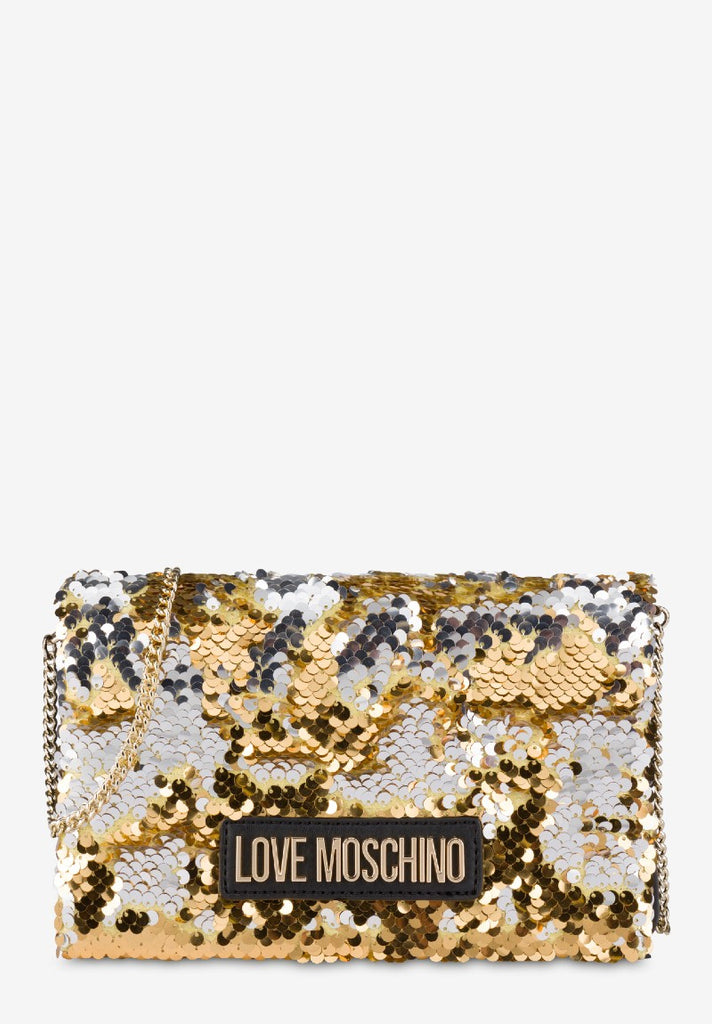 LOVE MOSCHINO SEQUIN EVENING BAG GOLD - Your Trends&Brands