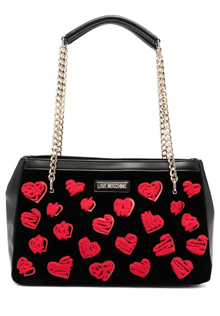 LOVE MOSCHINO VELVET EMBROIDERY SHOPPER - Your Trends&Brands