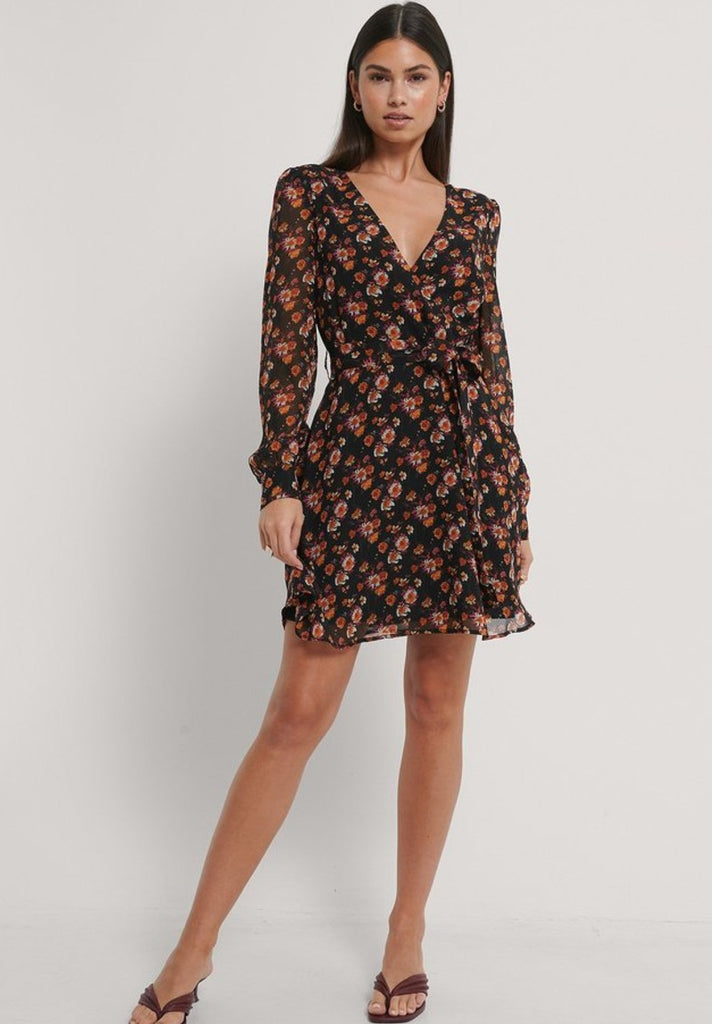 NA-KD FRONT WRAP CHIFFON DRESS - Your Trends&Brands