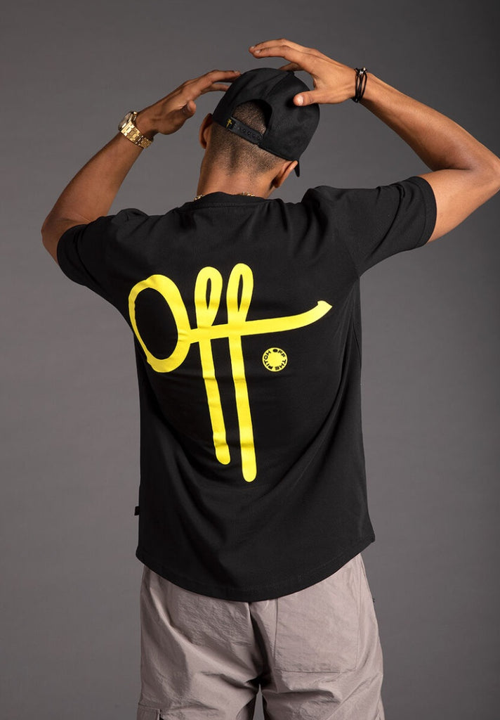 OFF THE PITCH FULL STOP T-SHIRT BLACK/YELLOW - Your Trends&Brands