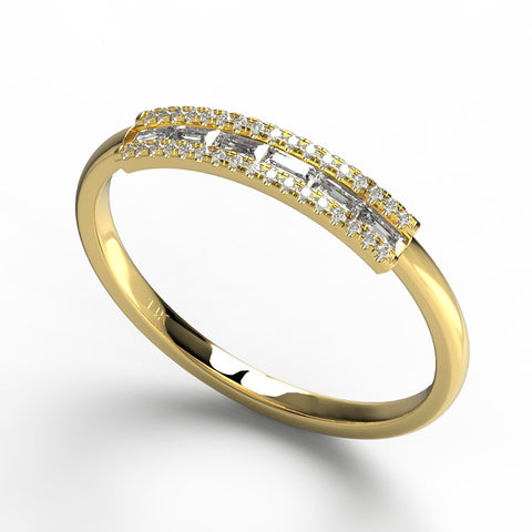0.16CT Baguette Round Diamond Ring