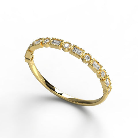 Gold Baguette Round Diamond Ring