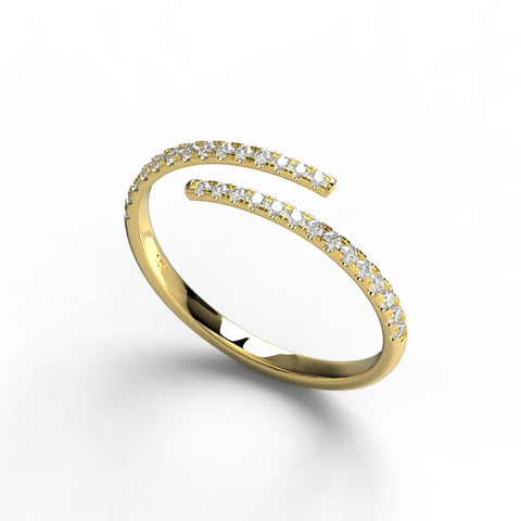 14k Gold Spiral Diamond Cuff Ring