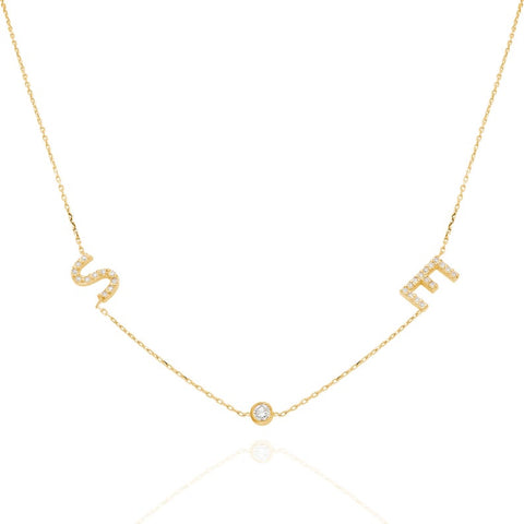 14k Gold Diamond Tilted Initial Necklace with Solitaire Bezel Diamond